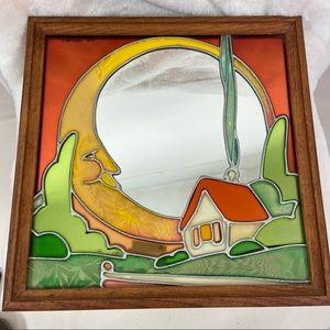 Artglass 1977 sun house chimney framed mirror